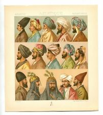 Antique Print Litho pair ASIA MEN IN TURBANS 1888 Le Costume Historique