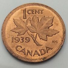 1939 Canada One 1 Cent Penny Copper Uncirculated Canadian Coin F886
