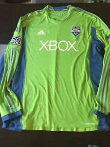 Authentic Seattle Sounders Long Sleeve Jersey Adidas MLS 2XL RARE Soccer