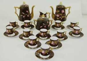 COFFEE SET. 12 SERVICES. GOLDEN AND ENAMELED PORCELAIN. FRANCE. XIX