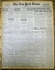 <1931 GREAT DEPRESSION newspaper HERBERT HOOVER DENOUNCES NEW DEAL Type Recovery