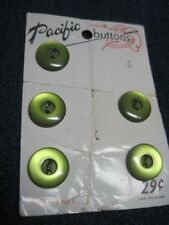 ANTIQUE/VINTAGE PACIFIC PARTIAL CARD OLIVE GREEN MOONGLOW CELLULOID BUTTON QTY 5