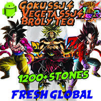 🌟Broly TEQ Vegeta SSj4 Goku SSj4 LR with 1500+ Stones FOR Dokkan Android Battle