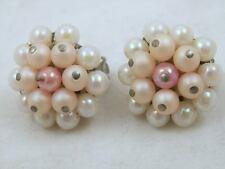 *JAPAN* Orecchini con Perle di Lucite Rosa a Clips