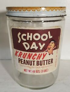 Vintage School Day Krunchy Peanut Butter Jar Container
