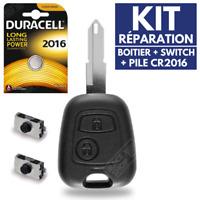 Plip Coque pour Clé Peugeot 106 206 206 306 107 207 307 +Pile CR2016 +2 Switch