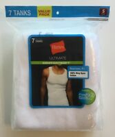 Hanes Mens Muscle Tank Undershirt 7-Pack White Tagless Cotton Ribbed Small S