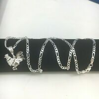 "925 Sterling Silver Rooster Chicken Cock 24""chain Necklace Gallo"