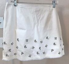 Women's White Floral Applique Skirt by Island Republic (02956)