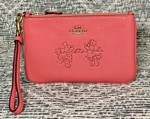 NEW COACH X Disney Mickey Mouse And Minnie Mouse Small Wristlet Watermelon C6124