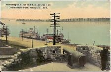 Mississippi River and Eads Bridge From Park in Memphis TN Postcard 1912
