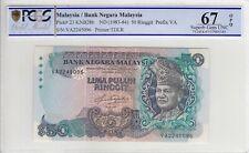 VA FIRST PREFIX RM50 Aziz Taha PCGS 67 OPQ Malaysia