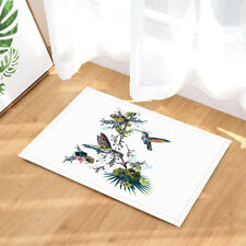 Hummingbird and Tropical Leaves Plush Bathroom Decor Mat with Non Slip Backing