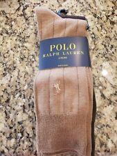 POLO RALPH LAUREN LOGO MEN'S BEIGE/OLIVE/BROWN RIBBED DRESS SOCKS 3 PAIRS  NIB