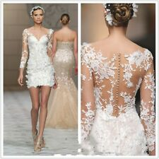 New Short/Mini Long Sleeves Lace Beach Wedding Dresses Bridal Gown Customize