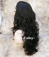 Brown Black 3/4 Fall Hair Piece Long Curly Gorgeous Layers Half Wig Hairpiece #2