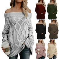 Women's Off Shoulder Knitwear Loose Knitted Sweater Jumper Pullover Blouse Tops
