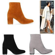 New Womens Ladies Mid Block Heel Chelsea Zip Black Ankle Boots Shoes Size