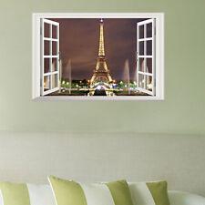 3D Window Paris Eiffel Tower Art Decal Wall Sticker Decor Removable Mural DIY
