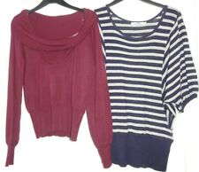 2 X LADIES JUMPERS SIZE 12 NAVY GREY BATWING TUNIC WINE BARDOT NECK CAMI INSERT
