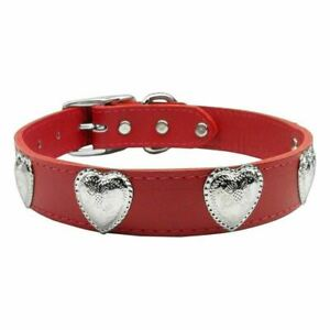 Red Western Heart Leather Dog Collar - 24