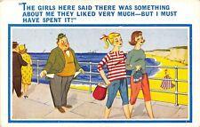 POSTCARD  COMIC    Seaside  Girls  Fat  Man  Money