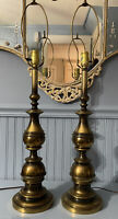 """Vtg pair MC Brass TABLE LAMPS 31"""" Westwood Industries Candle Stick Style"""