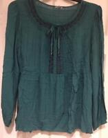 Sonoma Plus-sized Woman Peasant Style Blouse Shirt Top - Colonial Jade Green 1X