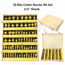 70 Pcs Tungsten Cutter Router Bit Set C3 Carbide 1/2'' Shank Woodwork Tool + Box