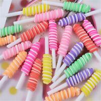 9x50mm Random Polymer Clay Rolling Lollipops Cabochons 10pcs DIY Jewellery Craft
