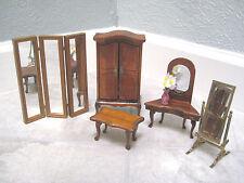 Dollhouse Miniature BEDROOM Powder Table Armoire Vanity Mirror Divider 1:12 Vase