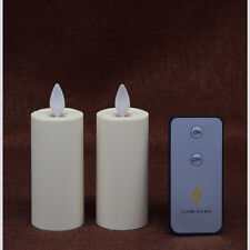2*Luminara Ivory Unscented Dancing Wick Battery Operated Votive Led Candle