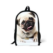 "Cute Pug Backpack 16"" Kids' School Bag For Junior School Boys Back to School New"