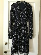 No Label Navy Chiffon Polka Dot Shirt Dress Sz. M NWOT