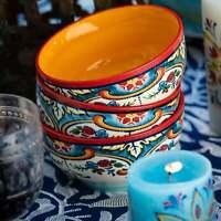 Euro Ceramica Zanzibar Ceramic Cereal Bowls (Set of 4) Multi-color
