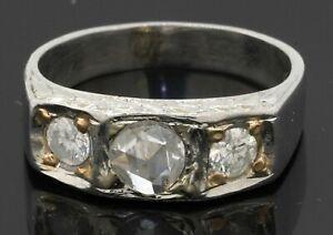 Heavy antique Platinum/14K gold 1.25CTW diamond 3-stone men's ring w/.75CT ctr.