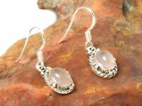 Oval  ROSE  QUARTZ  Sterling Silver 925 Gemstone Earrings  -  Gift Boxed