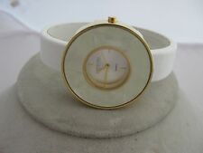 Estate Costume Joan Rivers White Cuff Leather Band Gold Tone Watch MOP Dial