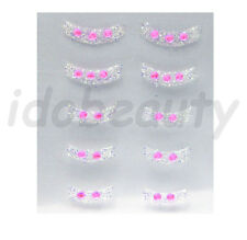 NAIL ART STICKER DECORATIONS SILVER GLITTER FRENCH TIP PINK GEM FOR NAILS