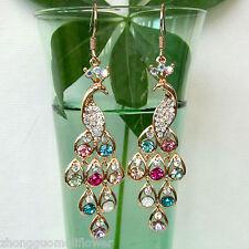 Rhinestone Peahen 18K GP Peacock Crystal Hook Dangle Drop Earrings BH1182