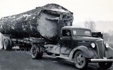 11x14 CHEVROLET LOGGING TRUCK HUGE 1 LOG LOAD 1939 PACIFIC NW PHOTO