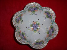 LOVELY RARE ANTIQUE HAND PAINTED FOOTED PORCELAIN COLANDER STRAINER GOLD BEADED