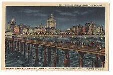 View From MILLION DOLLAR PIER By NIGHT ATLANTIC CITY NEW JERSEY Linen POSTCARD
