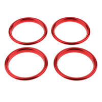4× Red Aluminum Air Vent Outlet AC Inner Outer Ring Trims For Audi A3 S3
