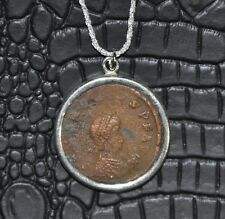 Honorius Roman Emperor Authentic Ancient Large Coin 925 Sterling Silver Necklace