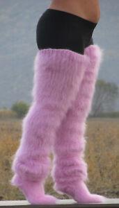 FUZZY MOHAIR Hand knitted Long socks stockings LIGHT PINK leg warmers Fluffy