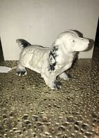 VINTAGE REPRODUCTION CAST IRON WHITE COCKER SPANIEL DOG STATUE/ PAPERWEIGHT