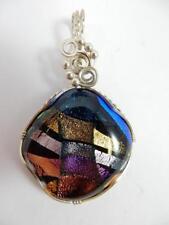 Large Vibrant Colored Stone Pendant, Silver Wire, Handmade   #J22