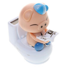 Cute Solar Powered Dancing Blue Pig Sitting On Toilet Home Car Decor Kid Toy
