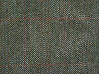 Lovat Teviot Green Windowpane Checked Herringbone Tweed Wool Fabric 2.5m